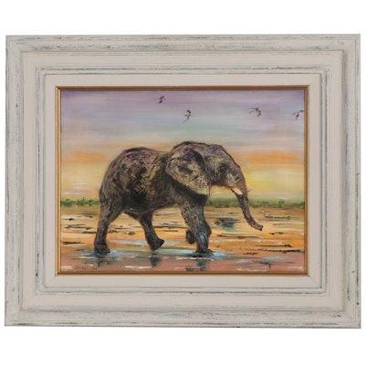 Okerson Oil Painting of Elephant, 2013