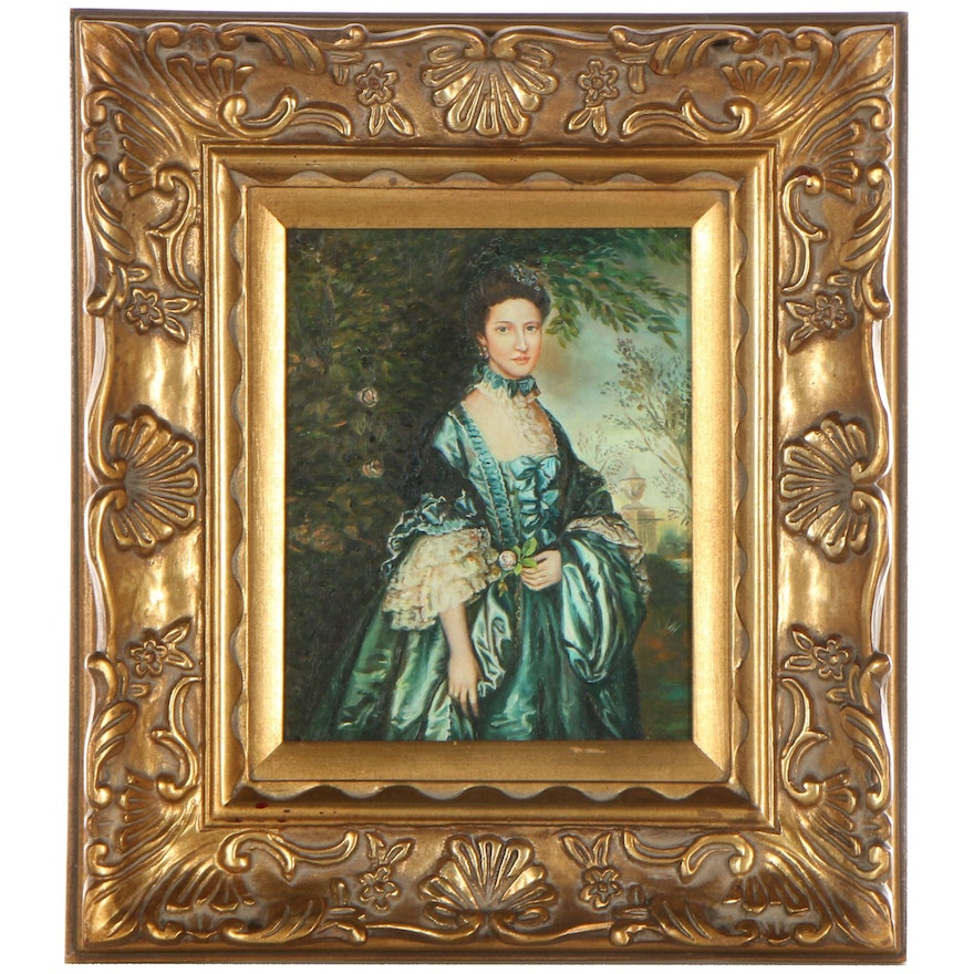 """Portrait Oil Painting After Thomas Gainsborough """"Miss Theodosia Magill"""""""