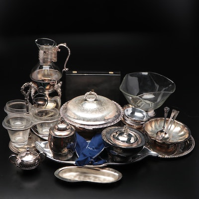 Sheffield Silver Plate Serving Spoons with Other Tea Set and Accessories