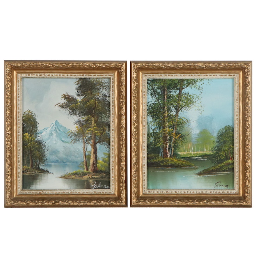 Landscape Oil Paintings of Trees and Mountains, Late 20th Century