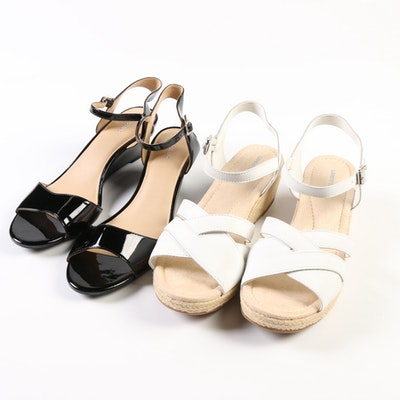Lands' End White Leather Espadrilles and Black Patent Wedge Sandals