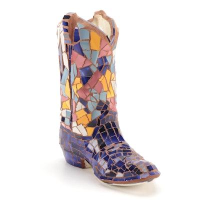 Cowboy Boot Mosaic Ceramic Vase