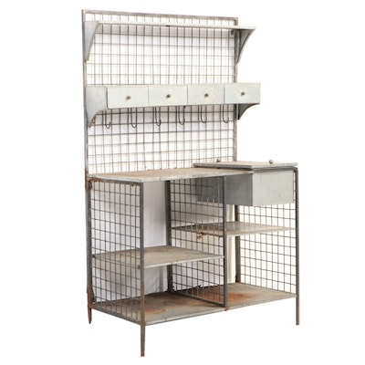 Industrial Galvanized Metal and Steel Work Table, 20th Century