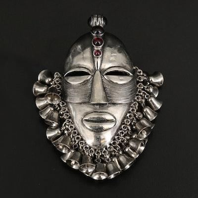 African Tribal Mask Brooch with Black Onyx and Rhodolite Garnet