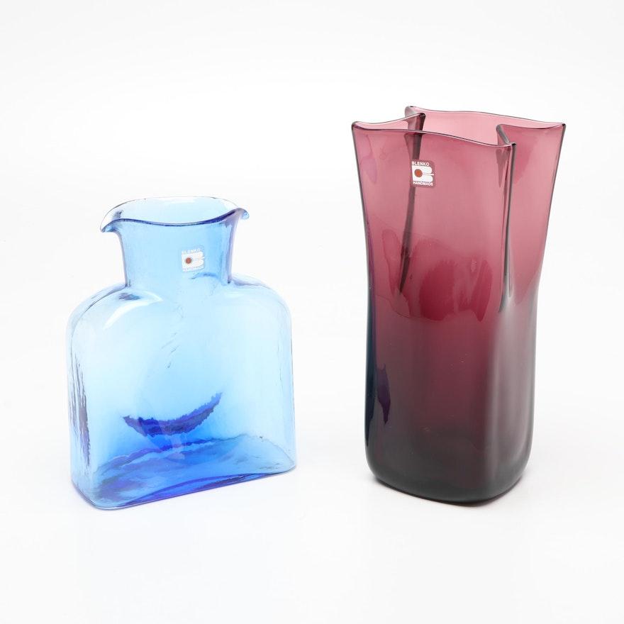 Blenko Blown Glass Paper Bag Vase in Amethyst with Blenko Water Bottle