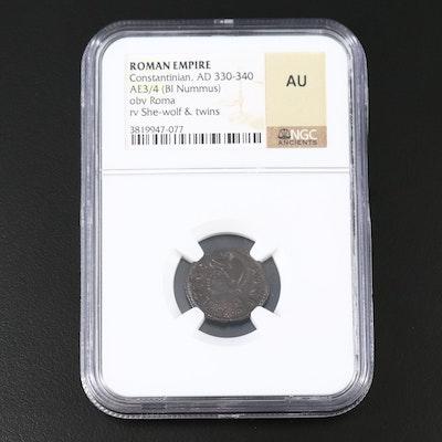 NGC Graded AU Ancient Roman Imperial AE Follis of Constantine I, ca. 330 AD