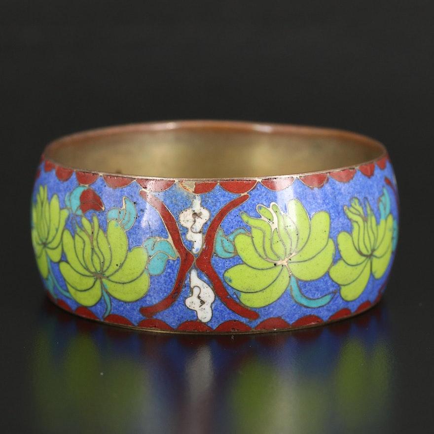 Cloisonné Lotus Bangle