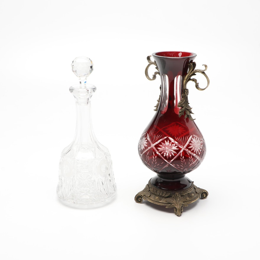Bohemian Style Gilt Bronze Mounted Ruby Cut to Clear Vase and  Other Decanter