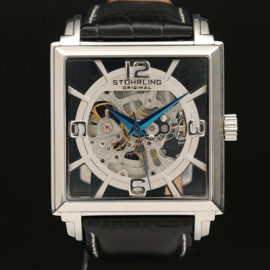 Stührling Skeleton Stainless Steel Automatic Wristwatch