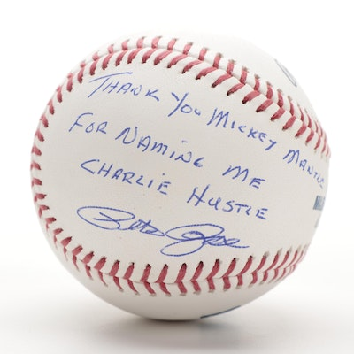"""Pete Rose Signed """"Thank You Mickey Mantle For Naming Me Charlie Hustle"""" Baseball"""