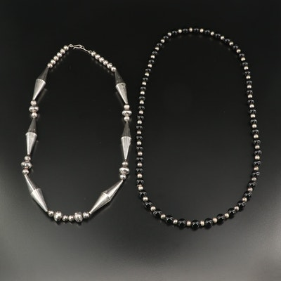 Sterling Silver Bead Necklaces Including Black Onyx