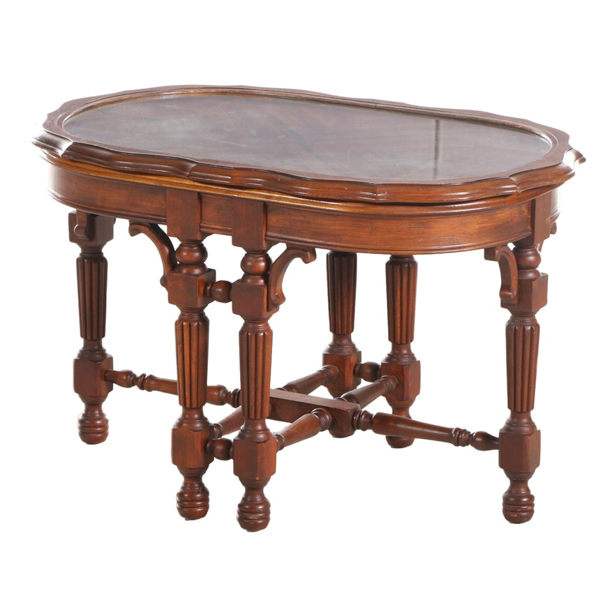 Baroque Style Parquetry-Finished Center Table with Removable Glass Tray Top