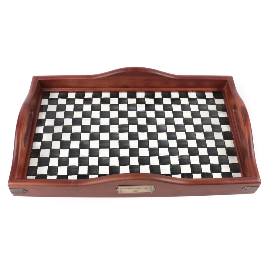 """MacKenzie-Childs """"Courtly Check"""" Wood Serving Tray"""