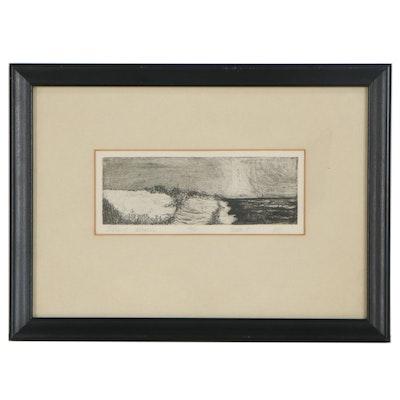 "Landscape Etching ""Island Beach,"" 1969"