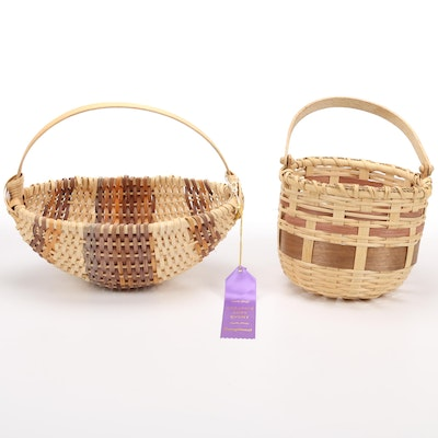 Handcrafted Wicker Woven Cane and Wood Baskets