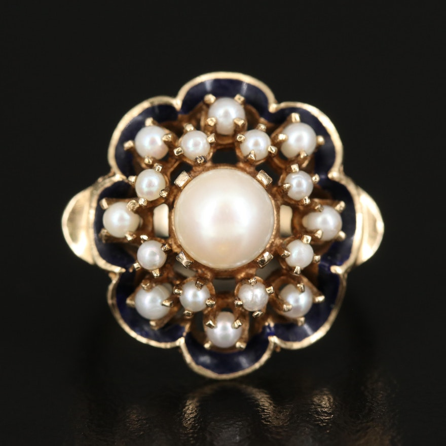 14K Pearl and Enamel Cluster Ring