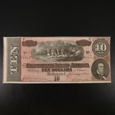1864 CSA $10 Banknote, T-68