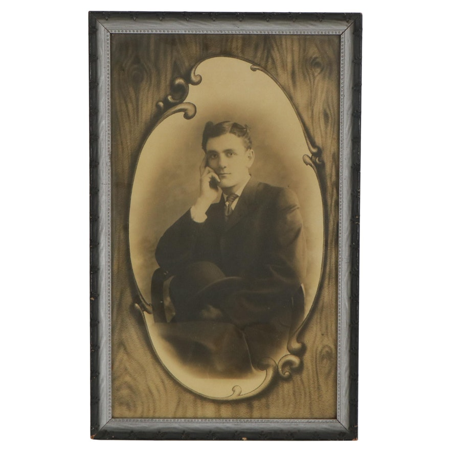 Sepia-Toned Silver Print Photograph and Lithograph of Seated Gentleman