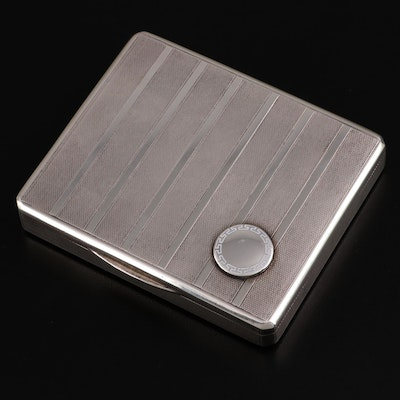Louis Kuppenheim German Engine-Turned 900 Silver Cigarette Case, Early 20th C.