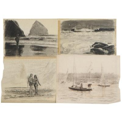 Edmond J. Fitzgerald Charcoal Drawings, Mid-20th Century