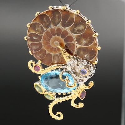 Sterling Silver Ammonite and Gemstone Biomorphic Pendant