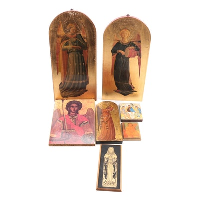 Italian Gilt Wood Fra Angelico and Other Religious and Secular Wall Panels