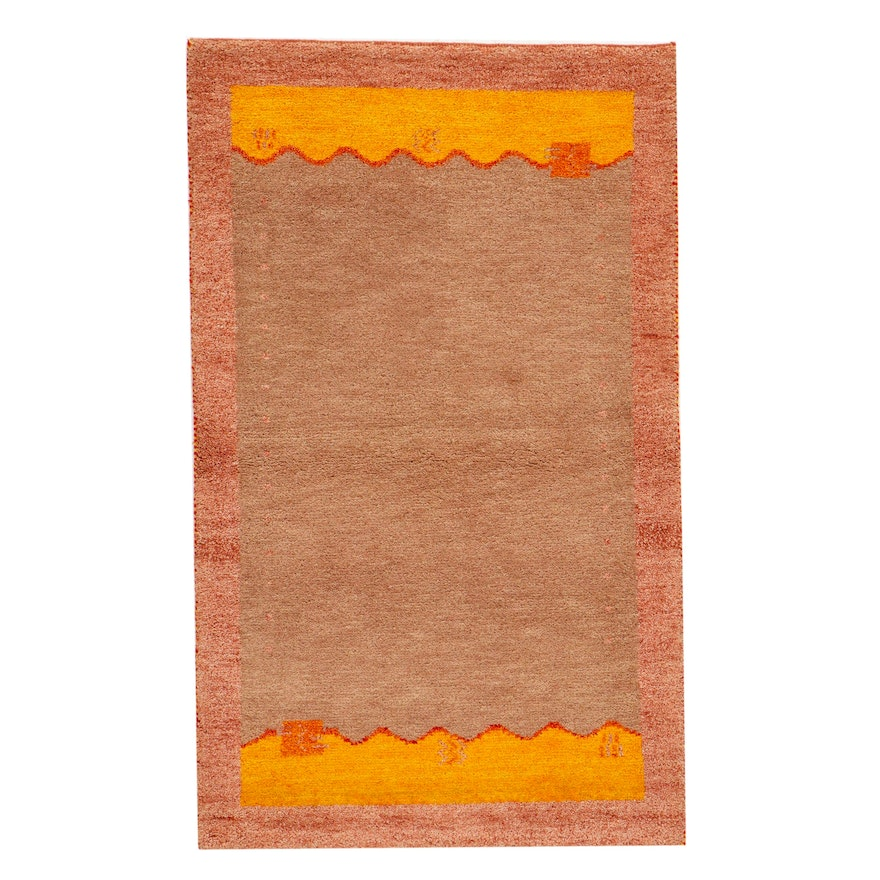 3' x 4'10 Hand-Knotted Indo-Persian Gabbeh Rug, 2010s