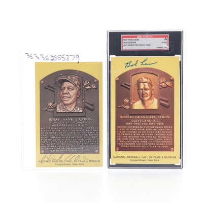 Hank Aaron and Bob Lemon Signed Cooperstown Hall of Fame Placard Postcards