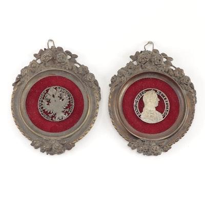 Austrian Coin Reliquary Thecas in Bronze Frames