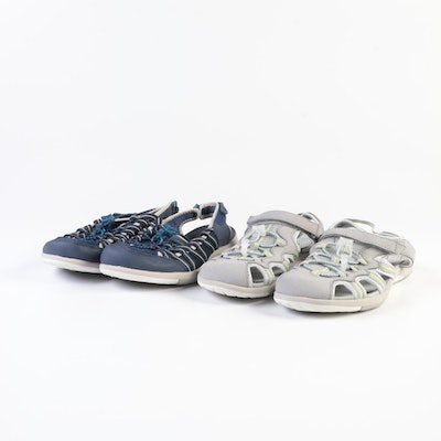 Lands' End Water Sandals in Deep Sea and Silver Frost