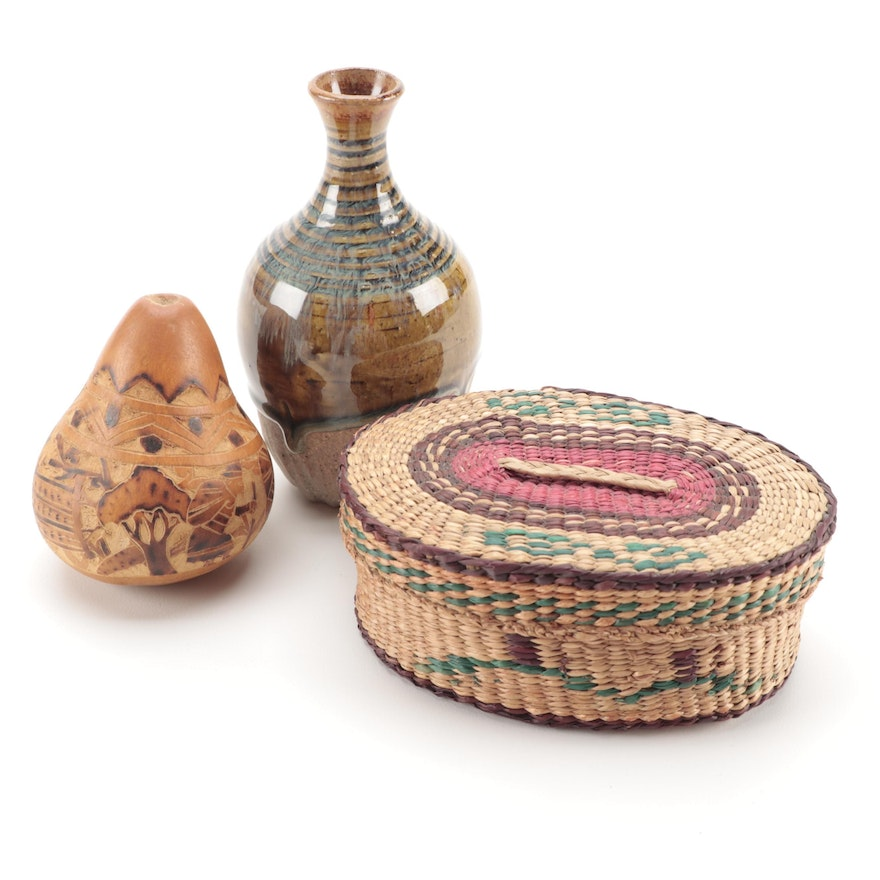 Peruvian Carved Story Gourd with Hand Woven Basket and Pottery Bud Vase