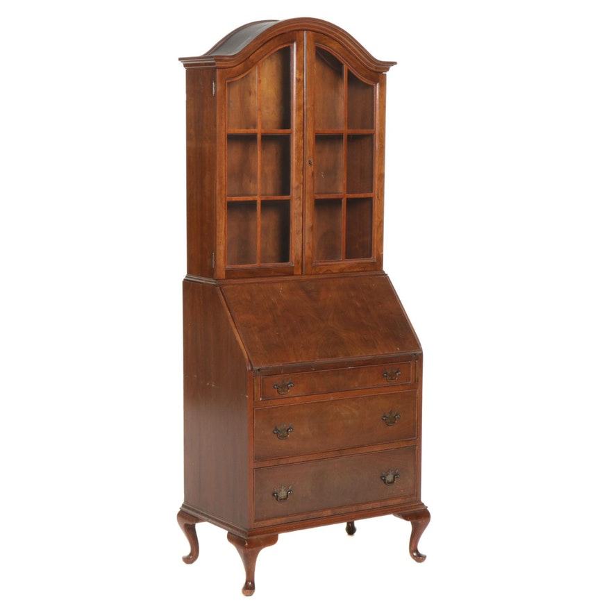 Queen Anne Style Walnut-Veneered Secretary Bookcase