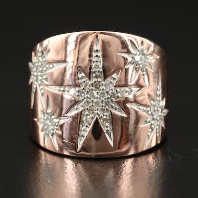 Sterling Silver Diamond Starburst Ring