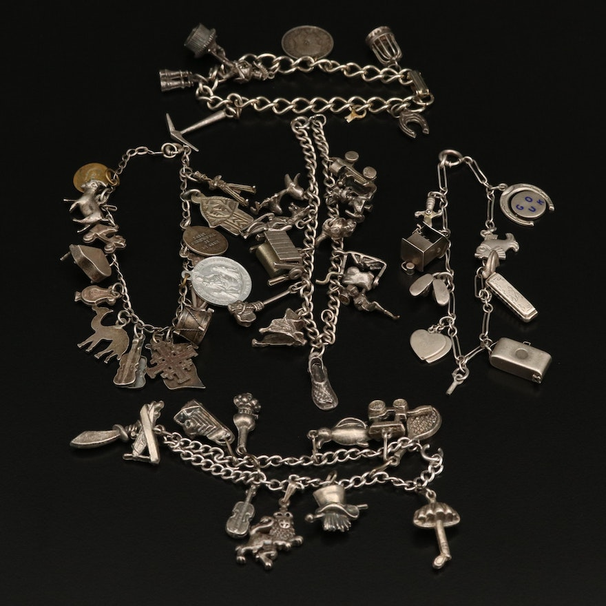 Selection of Charm Bracelets Featuring Sterling Silver