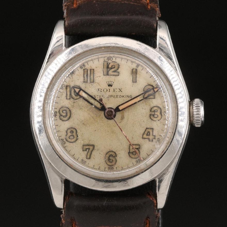 1946 Rolex Oyster Speedking Stainless Steel Stem Wind Wristwatch