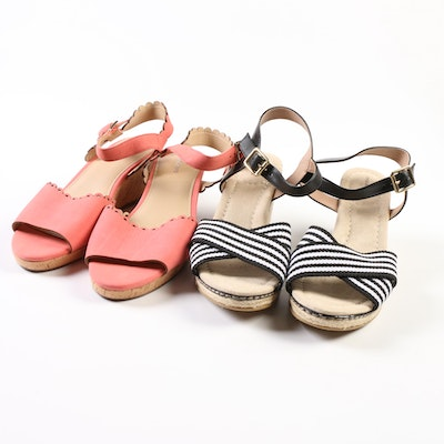 Lands' End Cross Strap Espadrilles and Scallop Wedges in Fresh Coral
