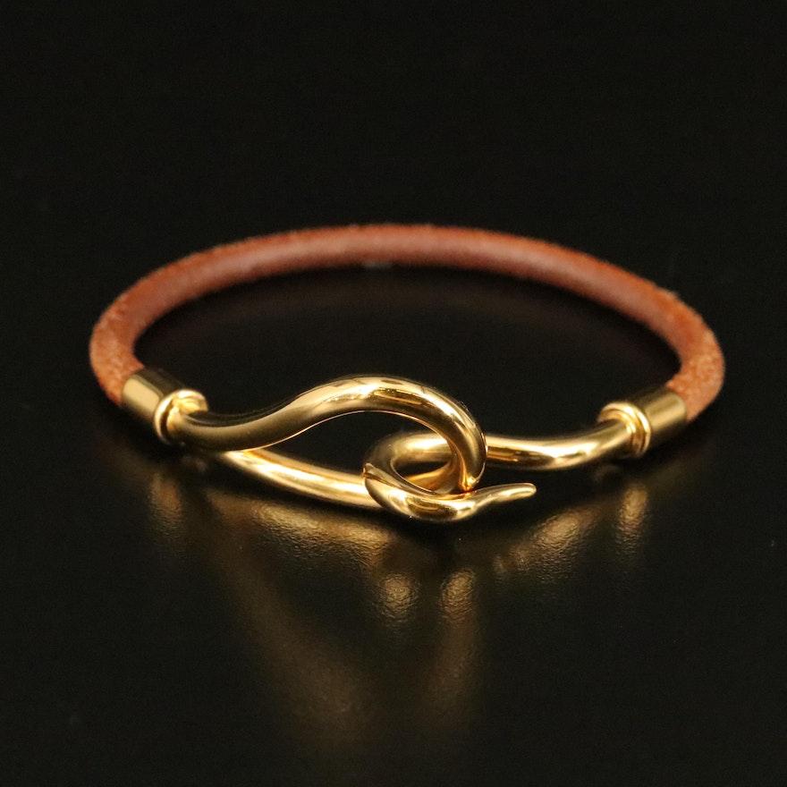 Hermès Jumbo Leather Hook Bracelet