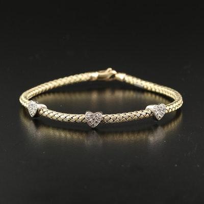 Italian 14K Cubic Zirconia Woven Heart Bracelet