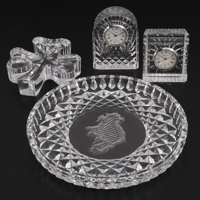 Waterford Crystal Island of Ireland Tray and Desk Clocks and Shamrock