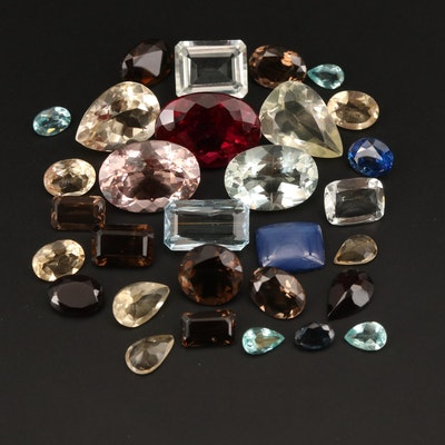Loose 69.69 CTW Morganite, Prasiolite, Smoky Quartz and Additional Gemstones
