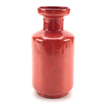 Pleasant Village Atomic Red Rouleau Form Vase, Mid-20th Century