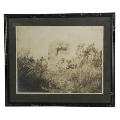 Silver Print Photograph of Building in Field, Late 19th-Early 20th Century