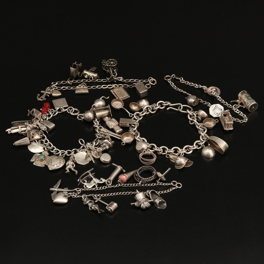 Vintage Charm Bracelets Featuring 800 Silver and Sterling