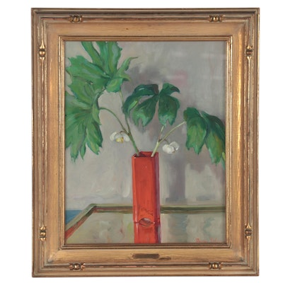 """Dixie Selden Still Life Oil Painting """"May Apples,"""" Early 20th Century"""