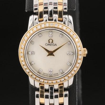 Omega DeVille Prestige Two Tone Mother of Pearl Diamond Dial & Bezel Wristwatch
