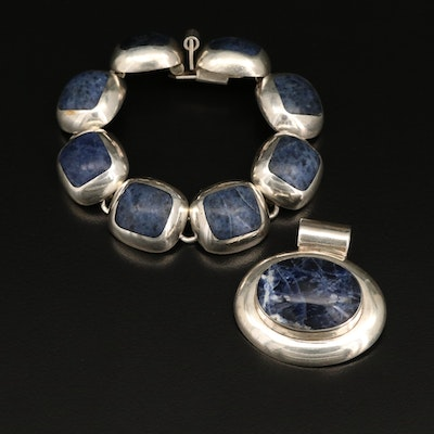 Mexican Sterling Silver Sodalite Bracelet and Pendant