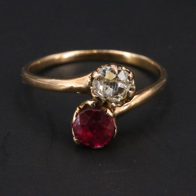 Edwardian 14K Diamond and Ruby Toi et Moi Ring