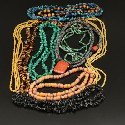 Necklace Selection Featuring Tiger's Eye and Malachite