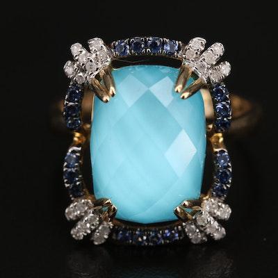 14K Quartz Turquoise Doublet, Diamond and Gemstone Ring