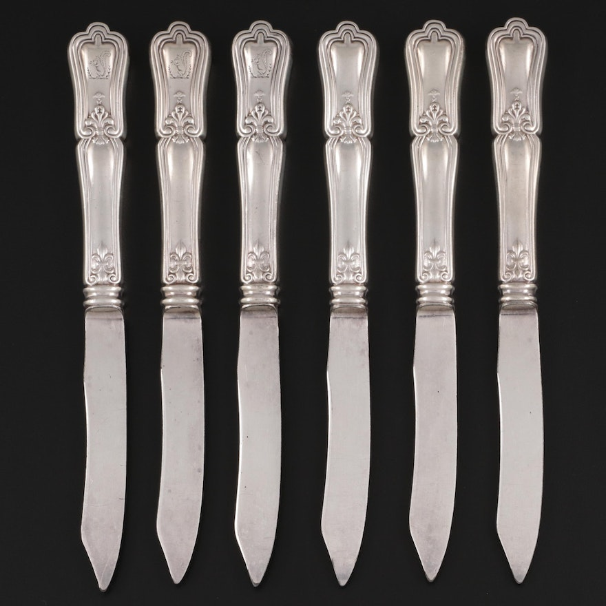 Sterling Silver Handled Butter Knives, Antique